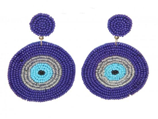 Blue Seed Bead Evil Eye Dangle Post Earrings