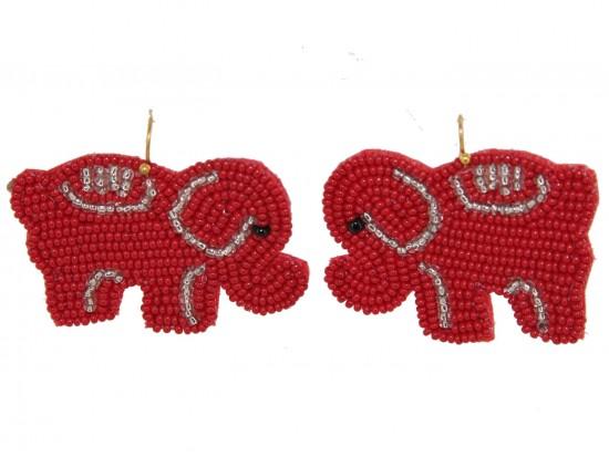 Red Seed Bead Elephant Dangle Hook Earrings