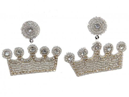 White Seed Bead Crown Dangle Post Earrings