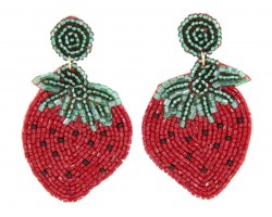 Red Seed Bead Strawberry Dangle Post Earrings