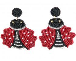 Red Seed Bead Ladybug Dangle Post Earrings