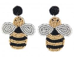 Yellow Seed Bead Bee Dangle Post Earrings