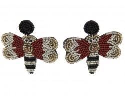 Hornet Seed Bead Dangle Post Earrings