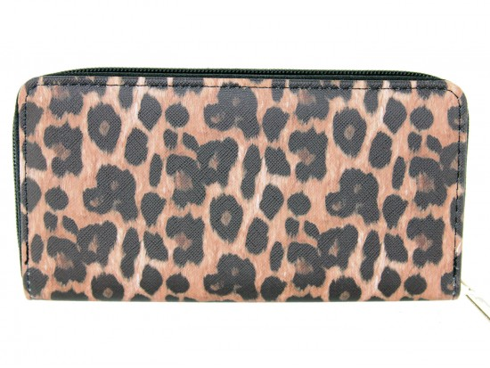 Brown Leopard Print Zipper Wallet