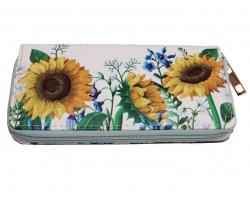 White Sunflowers & Flowers Zipper Wallet