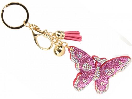Pink Crystal Butterfly Tassel Puff Key Chain