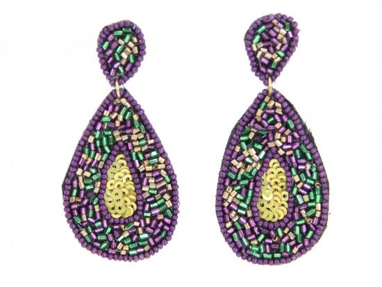 Mardi Gras Seed Bead Teardrop Post Earrings