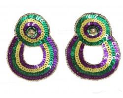 Mardi Gras Sequin Round Door Knocker Post Earrings