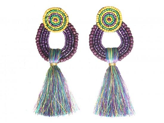 Mardi Gras Seed Bead Round Tassel Post Earrings