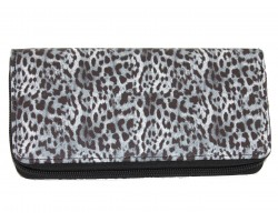 Black White Leopard Print Vinyl Zipper Wallet