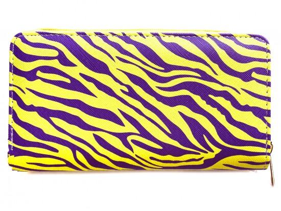 Purple Yellow Tiger Print Zipper Wallet