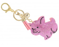 Pink Crystal Pig Puffy Keychain
