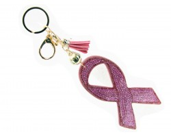 Pink Crystal Cancer Ribbon Tassel Puffy Key Chain
