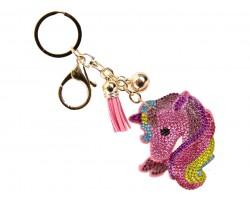Multi Crystal Rainbow Unicorn Tassel Puffy Key Chain