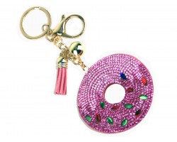 Pink Crystal Doughnut Puffy Key Chain