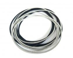 Black Silver Guitar String Bracelet 10pc Set