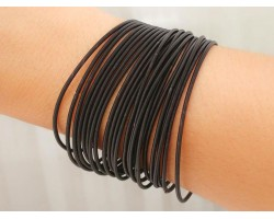 Black Guitar String Bracelet 10pc Set