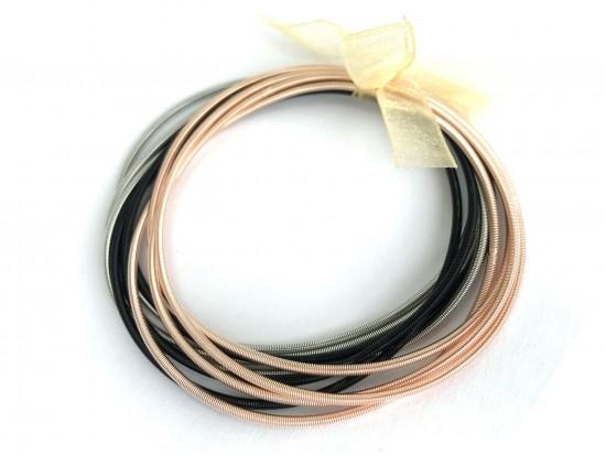 Mix Gold Silver Black Guitar String Bracelet 10pc Set