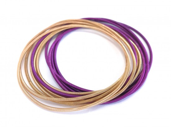 Purple Gold Guitar String Bracelet 10pc Set