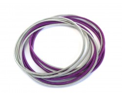 Purple Silver Mix Guitar String Bracelet 10pc Set
