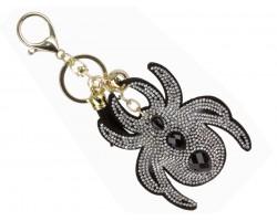 Black Crystal Spider Puffy Key Chain