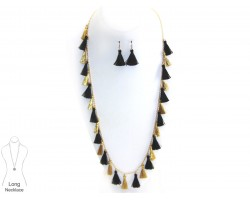 Black Gold Tassel Long Necklace Set