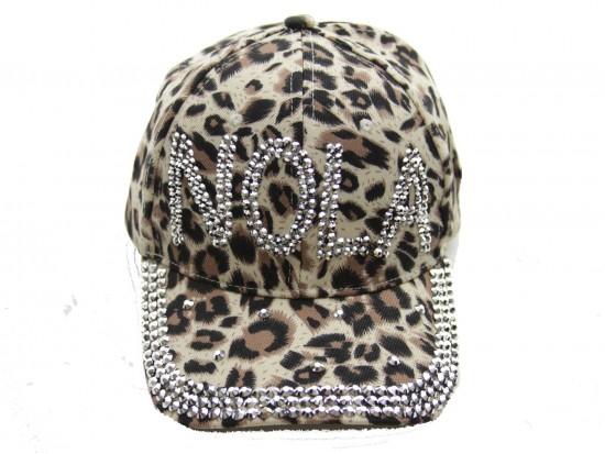 NOLA Crystal Brown Leopard Ball Cap