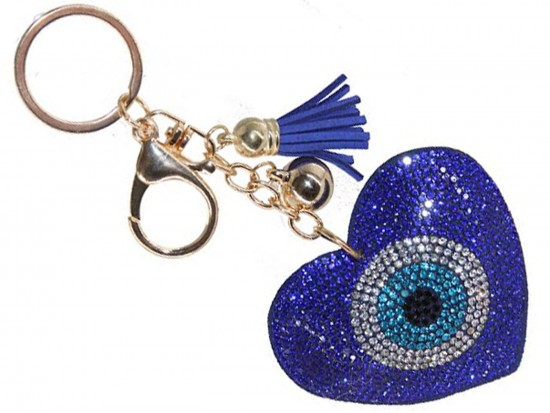 Blue Heart Evil Eye Crystal Key Chain