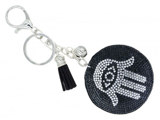 Black Crystal Evil Eye Hamsa Hand Tassel Puff Keychain