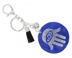 Blue Crystal Evil Eye Hamsa Hand Tassel Puff Keychain