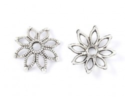 19mm Antique Silver Open-cut Pointed Flower Bead Cap