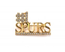 Gold Clear Crystal #1 Spurs Pin Brooch