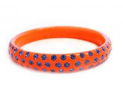 Orange Lucite Bangle Bracelet With 3 Rows Of Blue Crystals