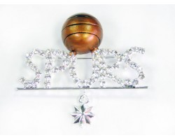 Clear Crystal SPURS Basketball and Dangle Star Brooch
