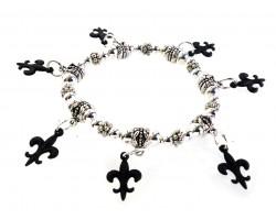 Black Matte Fleur De Lis Charm Stretch Silver Bracelet