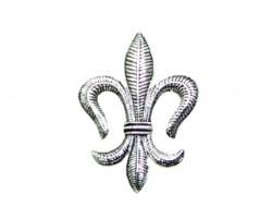 Silver Leaf Pattern Fleur De Lis Brooch Pendant