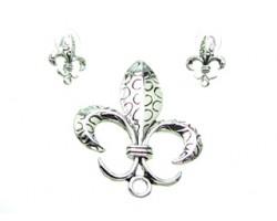 Antique Silver Circle Design Fleur De Lis Pendant Earring Set