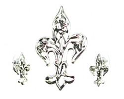 Antique Silver Open Floral Fleur De Lis Pendant Earring Set