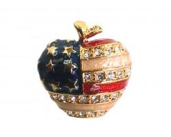 Gold USA Flag Apple Crystal Pin