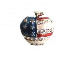 Silver USA Flag Apple Crystal Pin