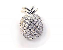 Silver Crystal Pineapple Brooch