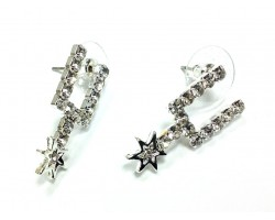 Clear Crystal Silver Spurs Post Earrings
