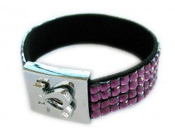 Amethyst Crystal Strap Bracelet With Silver Heart Clasp