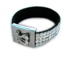 Clear Crystal Strap Bracelet With Silver Heart Clasp