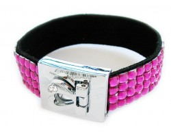 Fuchsia Crystal Strap Bracelet With Silver Heart Clasp