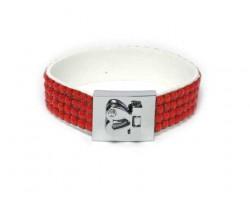 Hyacinth/Orange Crystal Strap Bracelet With Silver Heart Clasp