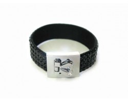 Jet Black Crystal Strap Bracelet With Silver Heart Clasp