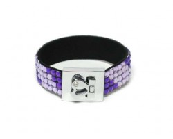 Purple And Light Purple Strap Bracelet With Silver Heart Clasp