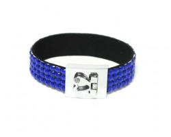 Sapphire Crystal Strap Bracelet With Silver Heart Clasp