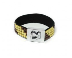 LCT and STZ Crystal Strap Bracelet With Silver Heart Clasp